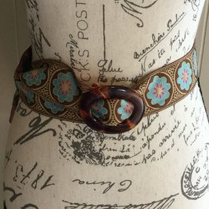 Accessories - Reversible stitched cloth floral patterned belt